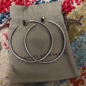 David Yurman Jewelry - David Yurman Pave Diamond Hoops